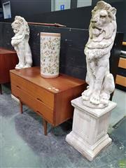 Sale 8620 - Lot 1001 - Pair of Concrete Lions on Plinth Bases