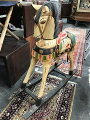 Sale 8805 - Lot 1082 - Carved Timber Rocking Horse (head detached)