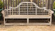 Sale 8871H - Lot 16 - A teak Lutyens bench, width 234cm