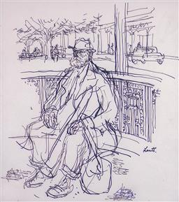 Sale 9143A - Lot 5027 - GERRARD LANTS (1927 - 1988) - Relaxing (Study) 29 x 26 cm (frame: 51 x 47 x 2 cm)