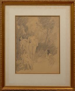 Sale 9150J - Lot 2 - NORMAN LINDSAY (1879 - 1969) Nudes in Landscape pencil 51 x 39 cm signed lower right