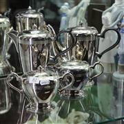 Sale 8379 - Lot 82 - Silver Plated Art Deco Style 4-Piece Tea Setting