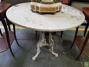 Sale 8617 - Lot 1067 - Possibly Victorian Cast Iron & Marble Garden Table, with round white marble top, the centre pedestal with central acorn (top not mou...
