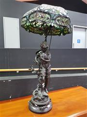 Sale 8657 - Lot 1004 - Ornate Leadlight Shade Table Lamp
