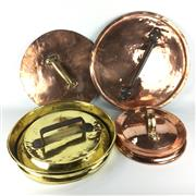 Sale 8760D - Lot 82 - Large Antique Copper Saucepan Lids (3) and a Brass Example (4 in total) D: 49cm (largest)