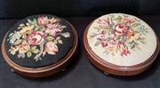 Sale 8971 - Lot 1039 - Pair of Art Deco Tapestry Top Footstools (H:12 x D:42cm)
