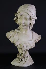 Sale 8972 - Lot 11 - An Art Nouveau Style Composite Stone Bust of A Lady (H 46cm) (some wear)