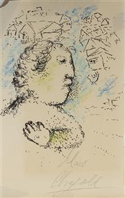 Sale 9084 - Lot 562 - Attributed to Marc Chagall (1887 - 1985) - Figure & Village Scene 29.5 x 11.5 (sheet)
