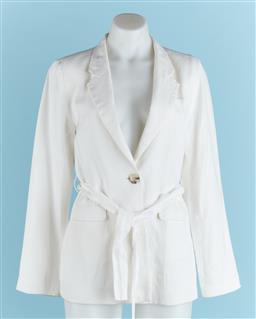 Sale 9091F - Lot 97 - A ELKA COLLECTIVE OF MELBOURNE OFF WHITE LINED LINEN BLAZER, with tie belt size 8 (light marks around neckline)