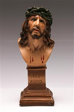 Sale 9110 - Lot 11 - A Italian plaster figure of Jesus  ECCE HOMO, signed to base,  (H:32cm)