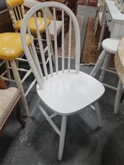 Sale 8676 - Lot 1306 - Set of Four White Painted Timber Chairs And Non-Matching Stool (5)
