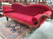 Sale 8868 - Lot 1127 - Early Colonial Cedar Double Ended Settee, with serpentine shaped back and lyre sides, upholstered in red buttoned velvet, with veneered