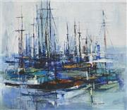 Sale 8867A - Lot 5080 - Susan Sheridan (1939-) - Harbour Scene 30 x 34.5 cm