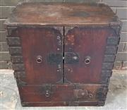 Sale 8976 - Lot 1054 - Small Japanese Edo/ Meiji Tansu Chest, possibly camphor, with iron furnishings, with two doors & two drawers (some distressing, H:57...