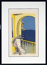 Sale 9024 - Lot 2002 - Jacqui Henwood, The Summer Balcony at Mona Road, screenprint ed. 3/47, 109 x78cm (frame)