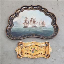 Sale 9126 - Lot 1030 - Victorian Maritime Papier Mache Tray, TOGETHER with another tray, The Victorian tray painted with a battle scene from one of the 17t...