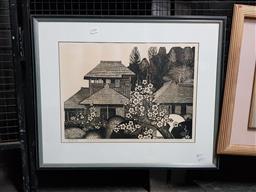 Sale 9127 - Lot 2045 - Hiroshi Tomihari Village Scene and Cherry Blossoms 1978 woodblock, 53 x 64cm (frame)