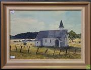 Sale 8604 - Lot 2044 - Perena Tuckfield - Church of Yesteryear , 1985, gouache and watercolour, 39 x 27cm, signed and dated lower right