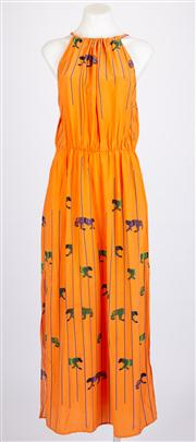 Sale 8640F - Lot 51 - An MSGM orange silk sleeveless sun dress, size 42.