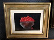 Sale 8789 - Lot 2074 - Artist unknown - Still Life Cherries, oil on board, 51 x 61cm (frame), signed lower left