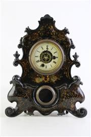 Sale 8855D - Lot 601 - French Lacquered Mantle Clock (with key and pendulum) H31cm