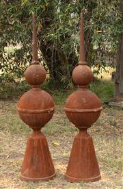 Sale 8871H - Lot 54 - A pair of cast iron finials