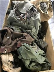 Sale 8953 - Lot 2083 - A Large Collection Of Military Canvas Duffel Bags, Backpacks And Other Gear Incl Swags And Blankets (Large Box Not Included)
