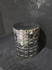 Sale 9051 - Lot 1034 - Modern Metallic Ceramic Drum Sidetable with Geometric Pattern (H49 x 38cm)