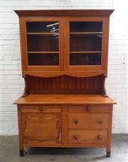 Sale 9071 - Lot 1005 - Pine Buffet and Hutch with Glazed Upper Section (h:210 x w:142 x d:66cm)