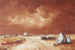 Sale 9096 - Lot 580 - Ric Elliot (1933 - 1995) Bush Town oil on board 60 x 90.5 cm (frame: 80 x 110 x 4 cm) signed lower left