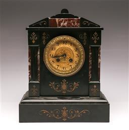 Sale 9107 - Lot 28 - A Black Slate and Marble Mantle Clock (H 33cm W 26cm)