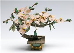Sale 9173 - Lot 67 - A Chinese semi precious stone bonsai tree (L 23cm, some losses to leaves)