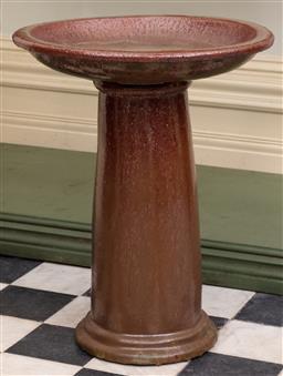 Sale 9190H - Lot 19 - An antique Edwardian brown stoneware bird bath C: 1900, separates to 2 parts, Height 54cm x Diameter 45cm