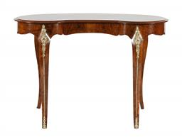 Sale 9245J - Lot 46 - An English 19th century burr walnut kidney shaped table, with rosewood cross banding and fine ormolu mounts. H 72cm x W 105cm.