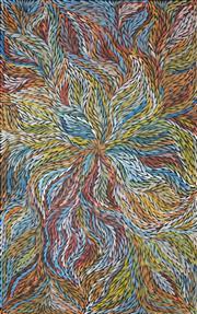 Sale 8286 - Lot 530 - Jeannie Petyarre (1956 - ) - Bush Yam Leaf 155 x 100cm