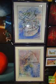 Sale 8509 - Lot 2003 - Annie Errey (2 works) - Untitled, 1987, pastel on paper, each 100 x 82cm (frame size) and signed lower