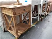 Sale 8740 - Lot 1043 - Pair of Rustic Manto Elm Bedside Cabinets
