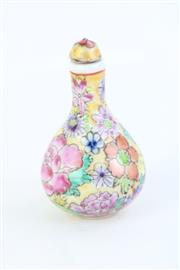 Sale 8802 - Lot 155 - Small Chinese Floral Snuff Bottles (H: 8cm, 9cm)