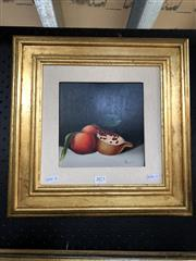 Sale 8789 - Lot 2073 - Artist Unknown, Pomegranate and Citrus, oil on board, 42 x 42cm (frame), signed lower right