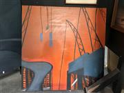 Sale 8819 - Lot 2059 - Artist Unknown  Urban Scene #4 - Industrial Landscape acrylic on canvas, 92 x 92cm.
