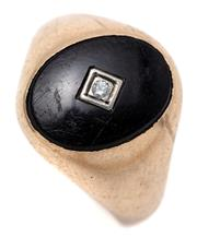 Sale 9095 - Lot 391 - A GENTS VINTAGE 9CT GOLD DIAMOND AND ONYX RING; centring an oval onyx plaque, 16 x 12mm (scratches) inset with an approx. 0.025ct r...