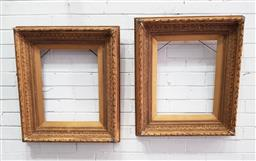 Sale 9126 - Lot 1070 - Pair of 19th Century Neoclassical Style Gilt Painting Frames, moulded with acanthus & laurel bands (71 x 61, opening 44.5 x 34.5 cm)