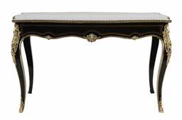 Sale 9245J - Lot 13 - A French 19th century serpentine shaped ebon bureau plat, with fine brass floral inlay and ormolu mounts, H 75cm x W 132cm Depth 77cm