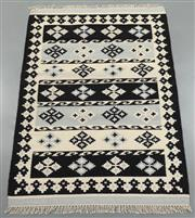 Sale 8445K - Lot 98 - Jaipur Veggie Dye Kilim Rug , 180x120cm, Handwoven in Rajasthan, India with a pure NZ wool composition. Fully reversible dense loome...