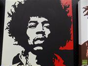 Sale 8461A - Lot 2017 - Jimi Hendrix Pop Art-Style Painting on Canvas