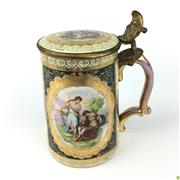 Sale 8562R - Lot 64 - C19th Royal Vienna Lidded Stein (H: 17cm)