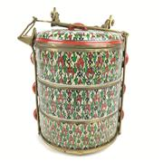 Sale 8607R - Lot 3 - Chinese Handpainted Celadon Glaze Compartmentalised Lunch Box with Bronze Fastenings (1 Container A/F) (H: 31cm)