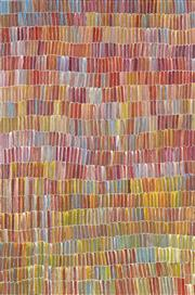 Sale 8713 - Lot 521 - Jeannie Mills Pwerle (1965 - ) - Bush Yam 152 x 101cm (stretched and ready to hang)