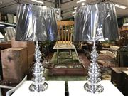 Sale 8822 - Lot 1517 - Pair of Shiny Aluminium Tall English Table Lamps (5783)