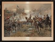 Sale 8887 - Lot 31 - A chromolithograph of Oliver Cromwell at the Storming of Basing House, early C20th